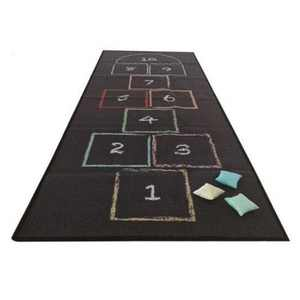 Wonder&Wise Kid's Classic Chalk Hopscotch Rug Floor Mat Activity Game Playmat with 3 Colorful Throw Beanbags for Children Ages 4 Years Old and Up