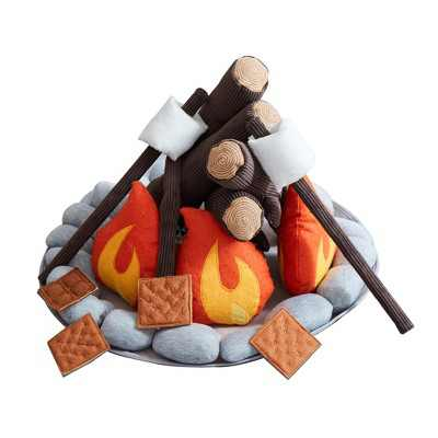 Wonder&Wise Kids Campout Camp Fire and S'mores Super Soft Plush Pillow Child Toy Camping Pretend Imaginative Play Set for Ages 3 and Up, 16 Piece