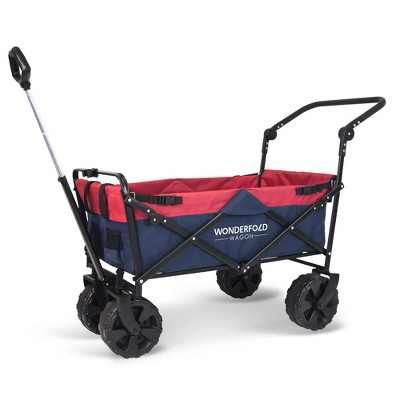 WonderFold Pull and Push Collapsible Folding Utility Wagon with All-Terrain Tires, Storage Pouch, and 2 Mesh Cup Holders, Navy/Red
