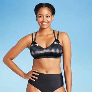 Women's Strappy Bralette Bikini Top - All in Motion Black