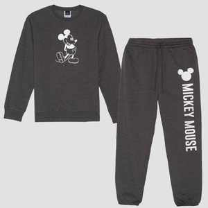 Men's Disney Mickey Mouse Fleece Top & Bottom Set - Charcoal Heather