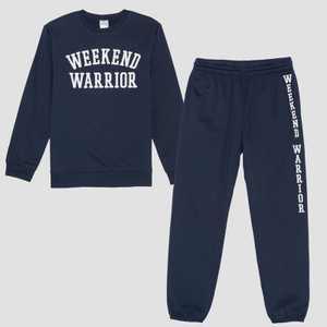Men's Weekend Warrior Fleece Top & Bottom Set - Navy