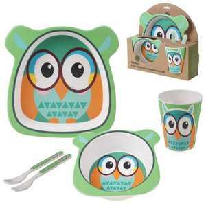 5pc Bamboo Owl Children's Dinnerware Set - Certified International