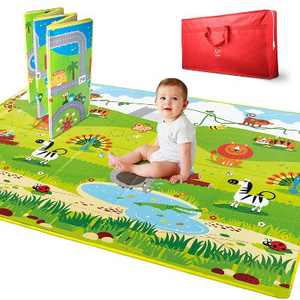 Hape E8372 Large 2 Sided Reversible Town & Jungle Baby Activity Foam Foldable Play Mat