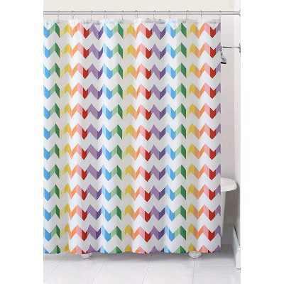 GoodGram Home Pride Vivid Rainbow Chevron Fabric Shower Curtain - Standard Size