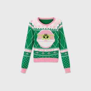 Girls' Star Wars Baby Yoda Fair Isle Pullover Sweater - Green