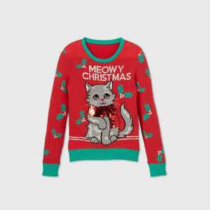 Girls' 'Meowy Christmas' Pullover Sweater - Red