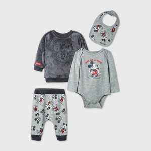 Baby Boys' 4pk Mickey Mouse Woobie Fleece Long Sleeve Top and Bottom Set - Gray