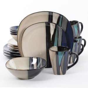 Gibson 105983.16 Elite 16 Piece Reactive Glaze Durable Dinnerware Plates, Bowls, and Mugs, Microwave and Dishwasher Ready, Teal