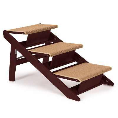 Pet Studio Convertible Foldable Dog Ramp with 3 Non Slip Carpeted Steps and Durable Pine Frame, Mahogany Brown Finish