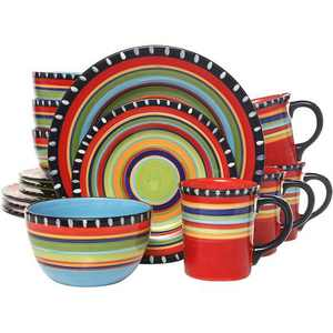 Gibson 97554.16RM Elite 16 Piece Multi Color Hand Painted Durable Reactive Glaze Dinnerware Set, Plates, Bowls & Mugs, Microwave and Dishwasher Ready