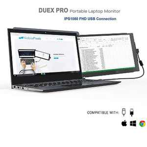 Mobile Pixels DUEX Pro Portable Dual-Screen Attachable Laptop Monitor with Anti-Glare Display and Kickstand, 12.5 Inch
