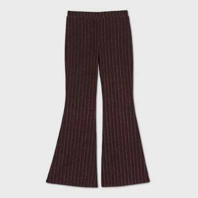 Girls' Lurex Knit Striped Flare Pants - art class Red
