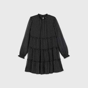 Girls' Mock Neck Chiffon Long Sleeve Dress - art class
