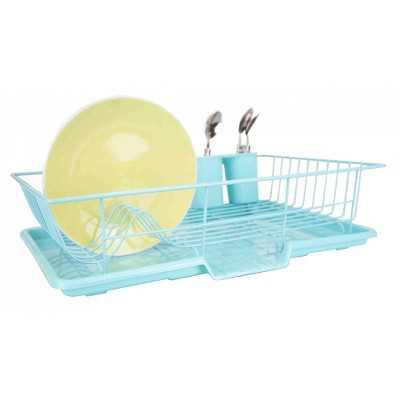Home Basics 3 Piece Dish Drainer, Turquoise