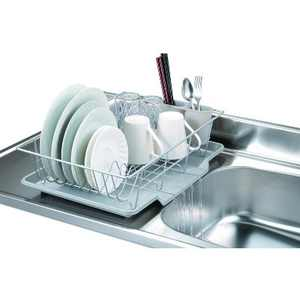 Home Basics 3 Piece Vinyl Coated Steel Dish Drainer with Drip Tray, Silver