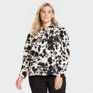 Women's Floral Print Puff Long Sleeve Blouse - Who What Wear