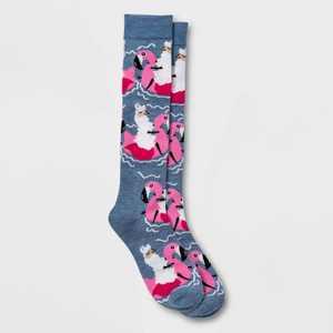 Women's Floating Llama Knee High Socks - Xhilaration™Denim Heather 4-10