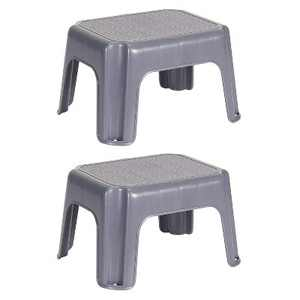 Rubbermaid Durable Plastic Roughneck Small Step Stool w/ 250-LB Weight Capacity, Gray (2 Pack)