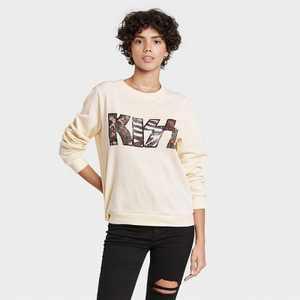 Women's Animal Print Kiss Graphic Sweatshirt - Off-White