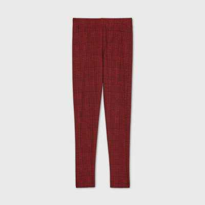 Girls' Ponte Plaid Skinny Pants - art class Red