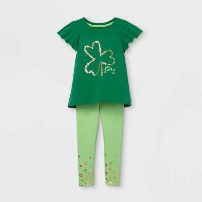 Toddler Girls' Shamrock Short Sleeve Top and Leggings Set - Cat & Jack Green