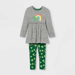 Toddler Girls' Shamrock Rainbow Long Sleeve Top and Leggings Set - Cat & Jack Gray