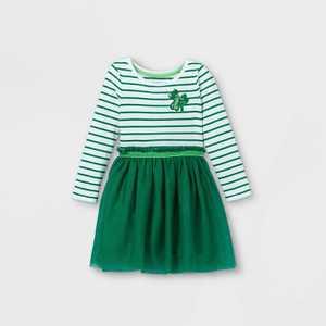 Toddler Girls' Shamrock Tulle Long Sleeve Dress - Cat & Jack Green