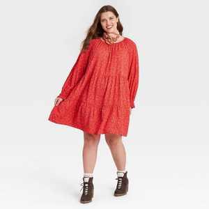 Women's Balloon Long Sleeve Tiered Babydoll Dress - Universal Thread