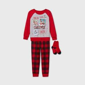 Girls' Elf on the Shelf 2pc Cozy Pajama Set with Socks - Red