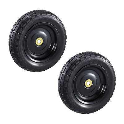 Gorilla Carts GCT10NF 10 Inch No Flat Replacement Pneumatic Tire Wheel with Offset Hub, Utility Garden Cart, Wheelbarrow, Dolly, and Wagon  2 Pack