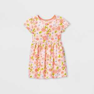 Toddler Girls' Floral Button-Front Short Sleeve Dress - Cat & Jack™ Pink 12M