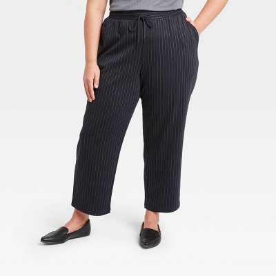 Women's Pinstripe High-Rise Ankle Length Knit Pants - A New Day
