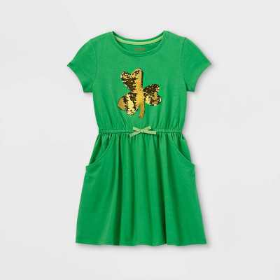Girls' Flip Sequin Shamrock Short Sleeve Knit Dress - Cat & Jack Green