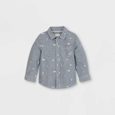 Toddler Boys' Puppy Print Woven Long Sleeve Button-Down Shirt - Cat & Jack Blue