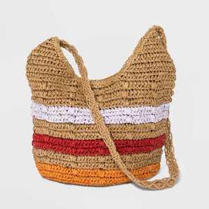 Striped Straw Shoulder Handbag - Universal Thread™ Natural