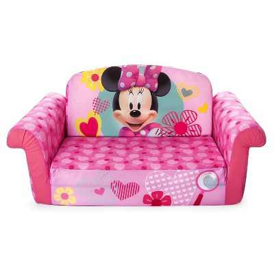 Marshmallow Furniture 2-in-1 Polyester Foam Flip Open Kids Couch Sleeper Bed Sofa Furniture for Ages 18 Months and Up, Minnie Mouse