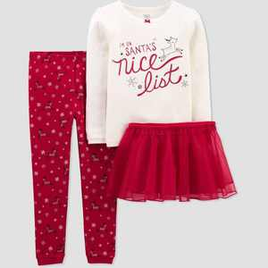 Toddler Girls' 3pc Santa's Nice List Pajama Set - Just One You made by carter's