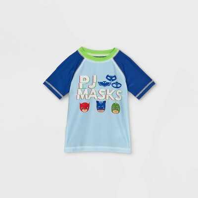 Toddler Boys' PJ Masks Rash Guard Swim Shirt - Light Blue