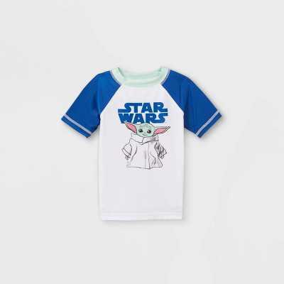 Toddler Boys' Baby Yoda Rash Guard Swim Shirt - White