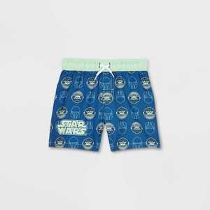 Toddler Boys' Baby Yoda Swim Trunks - Navy