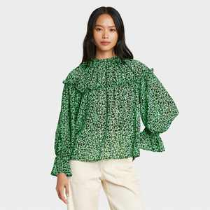 Women's Printed Balloon Long Sleeve Blouse - Who What Wear Green