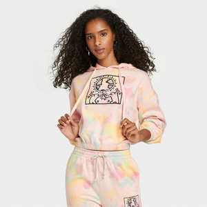 Women's Keith Haring Tie-Dye Hooded Graphic Sweatshirt - Pale Peach
