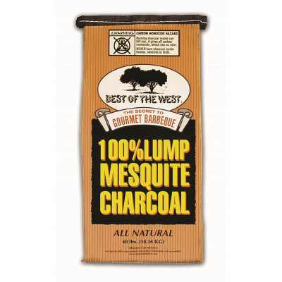 Best of the West Premium Mesquite Natural Lump BBQ Grill Smoker Charcoal, 40 Pounds