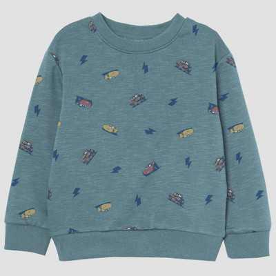 Toddler Boys' Cars Pullover Fleece Graphic Sweatshirt - Blue