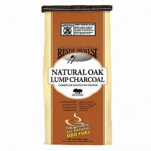 Best of the West All Natural Oak Hard Lump Charcoal for Outdoor Barbecue Grill Cooking, 15.4 Pound Bag