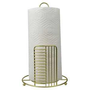 Home Basics Halo Free Standing Steel Paper Towel Holder, Gold
