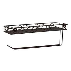 Home Basics Scroll Collection Wall Mounted Paper Towel Holder with Basket, Bronze