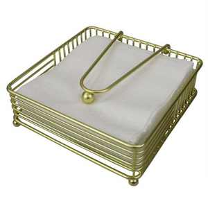 Home Basics Halo Steel Napkin Holder with Weighted Pivoted Arm, Gold