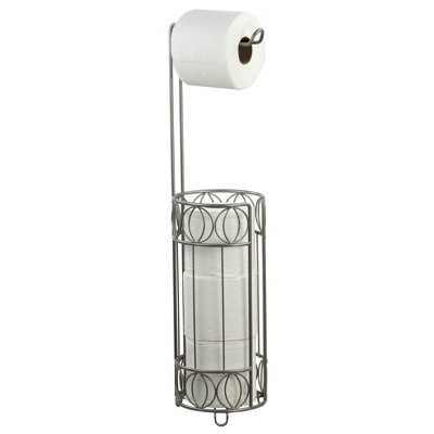 Home Basics Seville Free-Standing Dispensing Toilet Paper Holder, Satin Nickel
